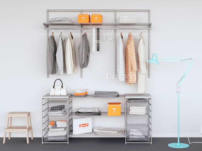 Готовые решения гардеробных и стеллажных систем хранения.